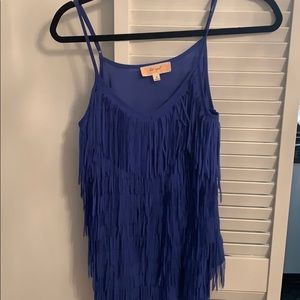 Frilly blue top with cami straps